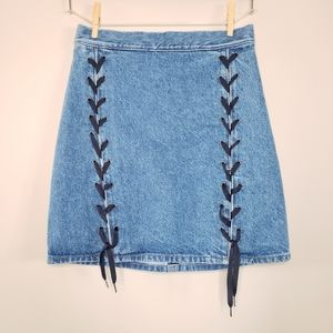H&M denim lace up front skirt nwt 8